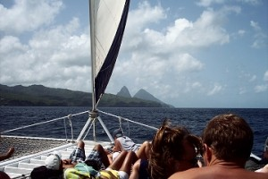 Catamaran sailing to the Pitons