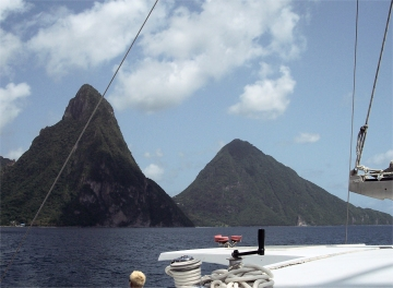 Sailing Away from the Pitons, St.Lucia