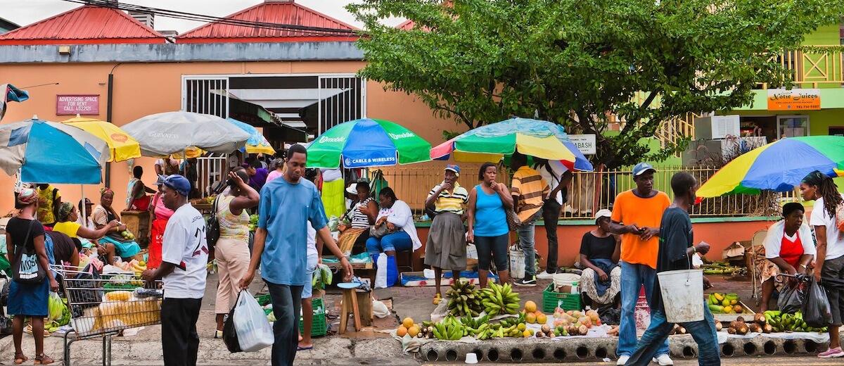 castries market scene
